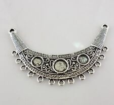 2pcs Tibetan Silver 2 To 13 holes Carving Necklace Connectors Charms 70x44mm