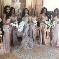 Luxury Long Sleeve Mermaid Wedding Dress Bridal Gowns Lace Crystals High Neck
