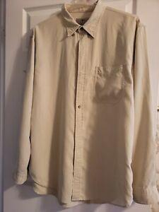 The Territory Ahead Mens Button Up Shirt Long Sleeve Cream Beige Silk Blend XLT