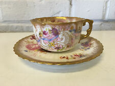 Antique Hammersley & Co. English Porcelain Gold & Floral Decorated Cup & Saucer