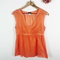 J. CREW Women's Blouse Short Sleeve V-Neck Orange White Polka Dot Cotton Size 6