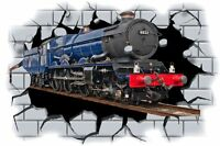 Huge 3D Steam Train Crashing through wall View Wall Sticker Mural Decal Film 56
