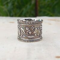 Solid 925 Sterling Silver Wide Band Ring Statement Handmade Gift Jewelry A212
