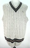 FRED PERRY Sweater Vest Cream CABLE KNIT with Stripe Trim 100% WOOL Mens XL $195