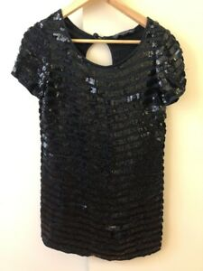 French Connection Black Sequins Mini Dress Size 6