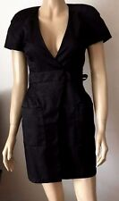 LIPSY Sexy Black Wrap Style Short Sleeved Pocketed V-Neck Party Dress Size 6
