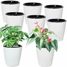 New listing 8 Pcs 4 in Self Watering Plastic Planter White Pots with Inner Pot Self Watering
