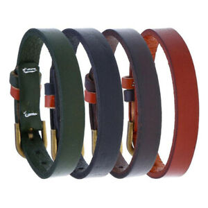 Mens Women Genuine Leather Bracelet Bangle Wristband Cuff Surfer Wrap Adjustable