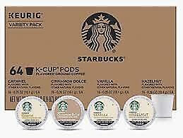 Starbucks Variety K-Cup Pack Caramel, Cinnamon Dolce, Vanilla, Hazelnut 64 K-Cup