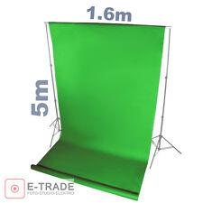 GREEN SCREEN Grün - Hintergrund 1.6m x 5m Lang ! mit Pappröhre FOTOHINTERGRUND