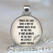 Harry Potter Quotes Photo Tibet Silver Cabochon Glass Necklace Pendant#D158