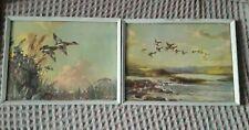 Vintage Vernon Ward  X 2 Pictures Prints Framed Ducks Over a Lake