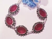 NEW STUNNING STERLING SILVER BRACELET WITH NATURAL RUBY GEMSTONES. 7-8""