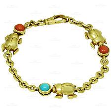 Rare CARTIER Three Beetle Coral Turqoise 18k Yellow Gold Bracelet