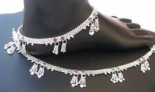 Handmade  925 Sterling Silver  Anklet Pair Indian Payal 49.85  Gram 10.5''   157