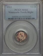 1912 Venezuela 1/2 Bolivar PCGS MS 61, Superb Toning, Only 1 MS Example @ NGC