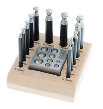 14pc Dapping Set Block & Punches Jewelry Making Tool Jewelers Set + Wooden Base