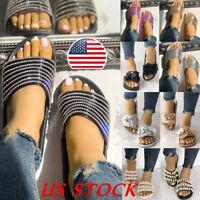 USA Women Ladies Chain Bow Slide Slip On Flip Flops Slipper Flat Sandals Shoes