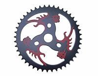 STEEL CHAINRING RED/SKULL 1/2 X 1/8 44T BLACK CUSTOM CHOPPER BMX CRUISER 137814