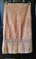 "Vtg Leather Crochet Skirt Boho Chic Hippy Modesty Brown Suede Womens 30"" Waist"