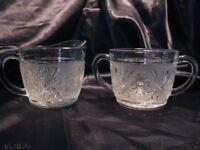 Anchor Hocking depression Sandwich glass flower pattern Cream & open Sugar set