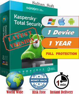 Kaspersky Total Security - 1Dev/1Yr - 2021 - Global Key - Instant Email Delivery