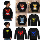 Pokemon Go Kids Boys Clothes Tops Team Mystic Valor Long Sleeve T-Shirt Sweaters