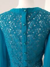 SIZE 6 JANE NORMAN BLOUSE  JADE GREEN  LONG SLEEVED  LACY FRONT AND BACK