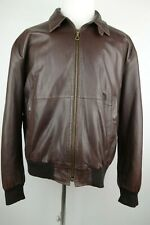 Faconnable Leather Bomber Jacket Men Size Large Soft Lambskin Quilted Lining