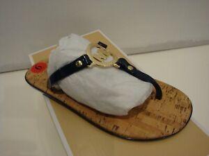 New Michael Kors MK Logo Charm Jelly Cork Flip Flops Sandals Black Size 6