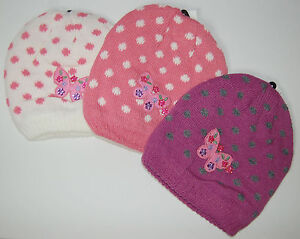 Girls Spotty Ski / Winter Beanie Hat with Butterfly Design - 3 Colours