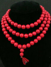 FREE P&P Rare 108 Tibetan Buddhist Red Coral 10mm Prayer Beads Necklace