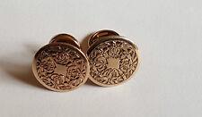 Par de 14 ct Oro China Vintage Gemelos - Tachuelas - Contraste