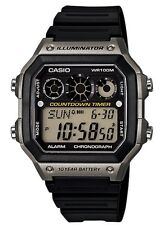 Casio Watch * AE1300WH-8AV Referee Timer Smoke & Black Square Digital COD PayPal