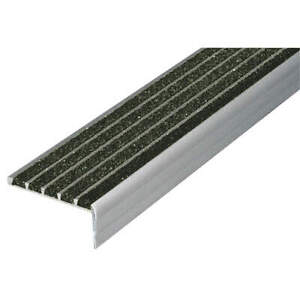WOOSTER PRODUCTS 132BLA3 Stair Nosing,Black,36in W,Extruded Alum