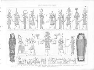 1867 ANCIENT EGYPT GODS Antique Steel Engraving Print Brockhaus