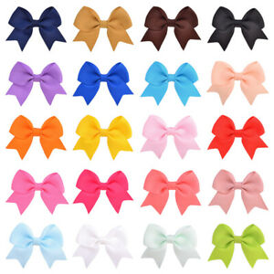 """3"""" Large Kids Baby Girl Grosgrain Ribbon Bow Clips Clip Colorful Pattern Design"""