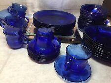 FORTECRISA Mexico Cobalt Blue Sunflower Glass  Plates, Bowls, saucers & cups VTG