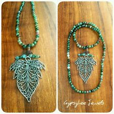 Filigree Leaf Mala Beads 108 Prayer Silver Green Meditation Necklace ♡ Gift ♡