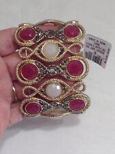 INC  Gold-Tone Hematite Pink & White Figure 8 Cuff Bracelet  #2655