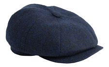 Gamble & Gunn 'Shelby' Newsboy Button Top Cap Blue Herringbone 65cm
