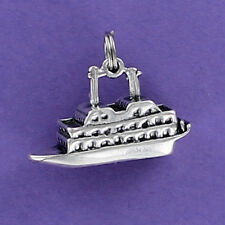 Cruise Ship Charm Sterling Silver 925 for Bracelet Vacation Ocean Caribbean Boat