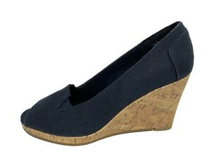 Annie shoes women's wedge shoes blue open toe slip on size 7W