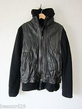 *NEW* $2700 SHELLAC LEATHER VEST HOODIE COMBO JACKET JULIUS _7 VIRIDI (BLACK 48)
