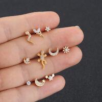 Mondstern Blume Piercing Ohrring Zircon Hengste für Ohren Knorpel Ohrenstand