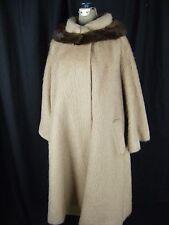 LILLI ANN Tissu a Paris Vtg 60s Beige Mohair Swing Coat w/Mink Collar-Bust 50/L