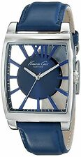 NEW Kenneth Cole New York KC8050 Men's Transparency Rectangle Blue Leather Watch