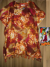 """One Size Plus Caftan Tunic Cover Up Floral Rust NWT 2X 3X 4X  74"""" Bust"""