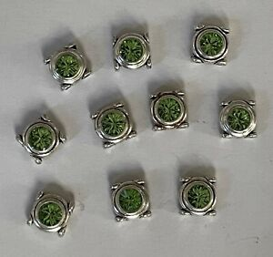 Silver Double Strand Sliders With Large Peridot Swarovski Crystal Centers 10 Pc