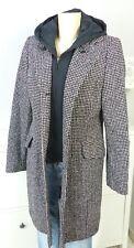 ORWELL Mantel Wollmantel Wolle Schwarz Weiß Kapuze Double Face Gr. 38 (BH20)